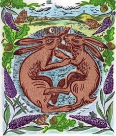 Hannah Firmin, illustration, boxing hares, brown hare, print