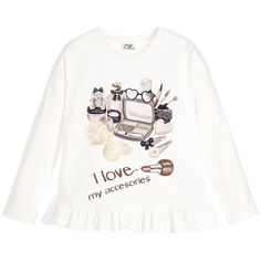 Girls ivory, long-sleeved top by Mayoral, made in a soft, cotton jersey. It has a round neckline and a pretty ruffle detail along the hemline. The front print features a display of sparkly, neutral-coloured makeup and various girly accessories and the words 'I Love My Accessories' in chocolate brown letters.