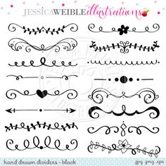 Black Hand Drawn Text Dividers Vintage Divider by JWIllustrations                                                                                                                                                                                 Mais