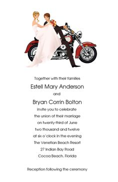 Wedding Thank You Cards Motorcycle Wedding Thank You Card Set