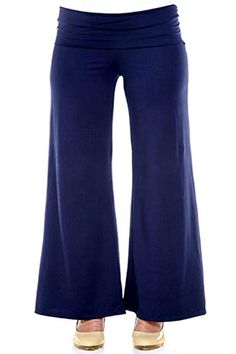 e66244169a3c3 Plus Size Gorgeous Women's Palazzo Pants: NAVY (2XL) at Amazon Women's  Clothing store: