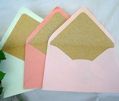 Gold Glitter Lined Envelopes Wedding by AllThingsAngelas on Etsy