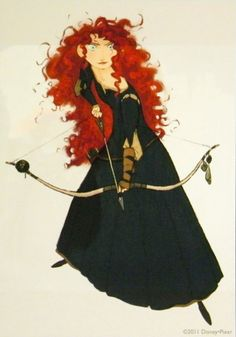 Brave (2012) official concept artwork of Merida and her lovely bow from the D23 Expo panel
