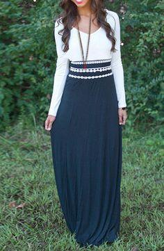 »Stylish V-Neck Long Sleeve Color Block Elastic Waist Women's #Dress« #fashion #fashionandaccessories #dresslily