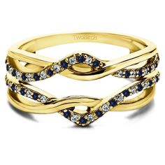 10k Yellow Gold 1/5ct TDW Diamond and Sapphire Infinity Ring Guard Enhancer (G-H, I2-I3) (Size 12.5)