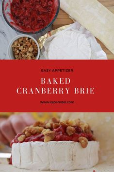 An easy baked cranberry Brie appetizer that's perfect for your next party or get together. Impress your friends with this fancy but oh so easy baked brie! Brie Appetizer, Fancy Appetizers, Easy Appetizer Recipes, Quick Dinner Recipes, Appetizer Ideas, Christmas Appetizers, Baked Brie Recipes, Cheesy Recipes, Baking Recipes