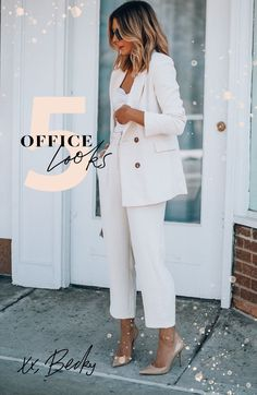 The seasons are changing and I am putting together looks for the office. Here are 5 casual spring looks that will really elevate your office attire. Look Office, Office Looks, Best Workwear, Cella Jane, White Trousers, Office Attire, Blazer Dress, Spring Looks, Vintage Tees