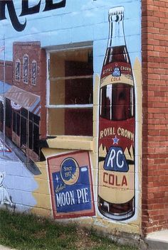 Moon Pie and RC Cola Wall Mural in Bell Buckle, Tennessee. Bell Buckle has RC - Moon Pie Festival every year in June. The Chattanooga Bakery in Chattanooga, TN came up with the Moon Pie in the early Nothing says old timey as an RC and a Moon Pie. Tennessee Girls, State Of Tennessee, Chattanooga Tennessee, Southern Charm, Southern Belle, Southern Sayings, Simply Southern, Southern Living, Country Living