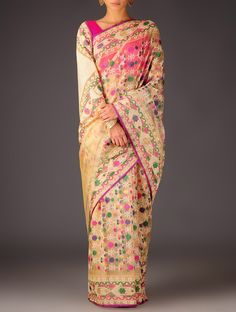 Buy Beige Multicolor Zari Dhakai Meenakari Handwoven Saree By Ekaya Sarees Woven Timeless Treasure Wedding Special Benarasi Silk Online at Jaypore.com