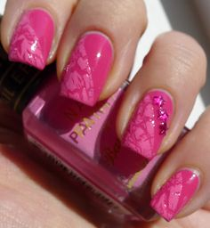 Crackle on just half the nail... From The Nail Buff: Revlon Bubble Gum Barry M Instant Nail Effects Pink.