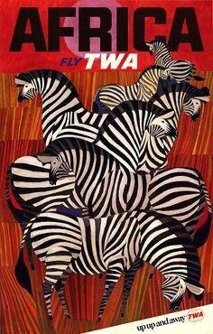 Africa - Fly TWA Travel Poster #SouthAmericaTravelPoster