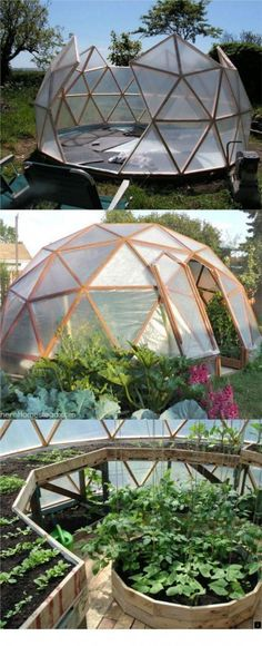 "21 DIY Greenhouses with Great Tutorials: Ultimate collection of THE BEST tutorials on how to build amazing DIY greenhouses, hoop tunnels and cold frames! Lots of inspirations to get you started! - A Piece of Rainbow Find more in board ""Garden"" on Greenhouse Plans, Greenhouse Gardening, Outdoor Greenhouse, Small Greenhouse, Greenhouse Wedding, Homemade Greenhouse, Geodesic Dome Greenhouse, Bucket Gardening, Outdoor Pool"