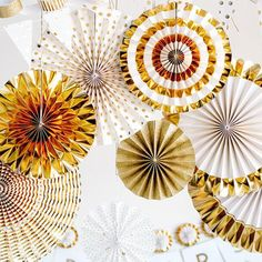 Wedding Paper Fan Set / Party Pinwheels / Backdrop / Rosette / Wall Hanging Decor from supplyandco on Etsy. Gold Party Decorations, New Years Decorations, Paper Fans Wedding, Gold Backdrop, Gold Foil Paper, Party Items, New Years Eve Party, Paper Goods, Party Supplies