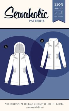 Buy a women's jacket pattern with pockets and hood with elastic waist, lightweight coat for cycling or dog walking, with front zipper. Independent pattern designer. Made in Canada. Printed paper sewing pattern.