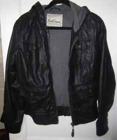 Faux Leather Hooded Bomber Jacket - $75.00