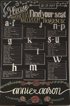 Wedding chalkboard seating chart - alphabetical makes it easier to add in the table numbers later and have most of it done ahead of time.
