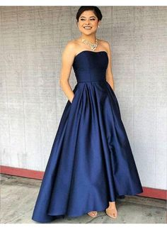 Custom Made Evening Dress, Evening Dress Long, Blue Evening Dress, A-Line Prom Dress, Navy Blue Evening Dress Prom Dresses 2019 Dark Blue Bridesmaid Dresses, Navy Prom Dresses, Prom Dresses With Pockets, Strapless Prom Dresses, High Low Prom Dresses, Graduation Dresses, Party Dresses, Flowy Dresses, Dress Prom