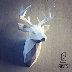 Papercraft deer head 3 printable DIY template