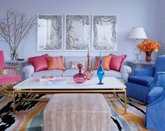 Lavender (purple), blue, pink and coral living room with brass accents. By Jamie Drake Design. Love the colors