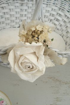 basket with millinery flowers