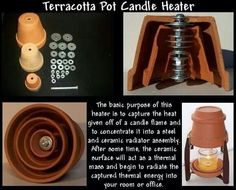 Terracotta Pot Candle Heater The basic purpose of this heater capture the heat g. Terracotta Pot C Awesome Woodworking Ideas, Woodworking Crafts, Woodworking Plans, Survival Tips, Survival Skills, Diy Heater, Diy Candle Heater, Homemade Heater, Diy Lampe
