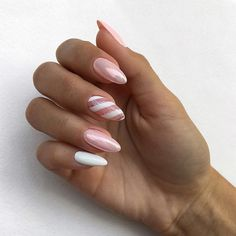Swirl almond pink and white chrome nails black # Roses … – Birthday Nails And Party Nails – the Source Manicure Y Pedicure, Gel Nails, Acrylic Nails, Nail Polish, White Chrome Nails, Pink White Nails, Chrome Nail Art, White Almond Nails, Pink Nail Art