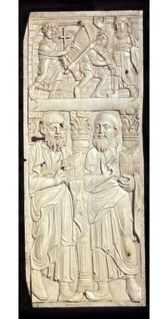 Egypt  -  panel  Date:  circa 500 — circa 600  School/Style:    6th Century  Description:  Panel, ivory. The scene depicts two Evangelists. Above the architrave is the scene of Christ with the woman of Samaria at the well. Carving; ivory