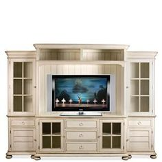Placid Cove Entertainment Wall Unit with Panel Glass Doors by Riverside Furniture at Ivan Smith Furniture