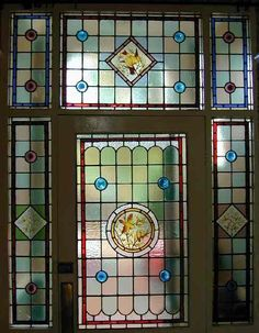 I absolutely adore stained glass windows, I love the beautiful colours that saturate the room when the sun shines. Here is a stained glass . Stained Glass Studio, Stained Glass Door, Leaded Glass Windows, Stained Glass Designs, Stained Glass Projects, Stained Glass Patterns, Victorian Stained Glass Panels, Glass Restaurant, Glass Front Door
