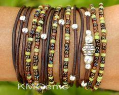 Custom  TURQUOIE Boho Leather Wrap Chain Bracelet  Leather
