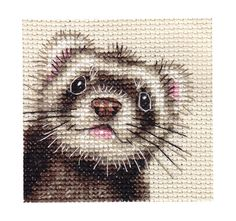 FERRET portrait~ Full counted cross stitch kit cross stitch kit by Fido Stitch Studio