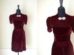 Vintage 1930's Burgundy Velvet Cocktail Dress / by OurTownVintage, $92.00