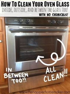 Finally, get your oven sparkling clean with this step by step tutorial for how to clean oven glass, including those stubborn interior stains! Easy step by step tutorial showing how to clean oven glass, including the secret to clean between oven glass. Cleaning Oven Glass, Self Cleaning Ovens, Diy Home Cleaning, Household Cleaning Tips, Cleaning Recipes, House Cleaning Tips, Deep Cleaning, Spring Cleaning, Oven Cleaning Hacks