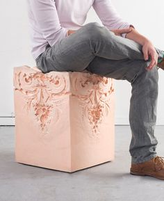 Elements of time stool by Nynke Koster * Deco Findings * The Inner Interiorista Ornamentation In Architecture, Architecture Design, Painted Furniture, Furniture Design, Different Architectural Styles, Banks Building, Creative, Art Nouveau, Art Pieces