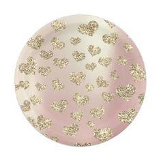 #glitter - #Glitter Rose Foxier Gold Hearts Confetti Sparkly Paper Plate