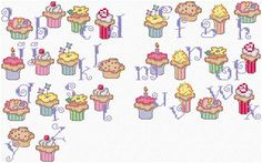 Maria Diaz Designs: CUP CAKE ALPHABET (Cross-stitch chart)