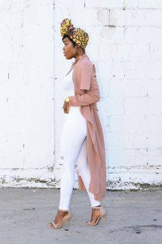 "ecstasymodels: "" Pink Trench What I wore: Headwrap {Here}Jacket {Here}{Similar} {Similar} {Similar} White Jeans {Here}{Similar} Top {Here} Heels {Similar} {Similar}{Similar} Love these {Here} Fashion Look by IslandChic77 """