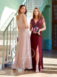 Slit Skirt, Slit Dress, Bridesmaid Dresses, Prom Dresses, Formal Dresses, Wedding Dresses, Adrianna Papell, Fitted Bodice, Formal Wear