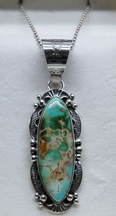 Navajo Native American Royston Turquoise Pendant Necklace by M. Spencer #MSpencerSterling