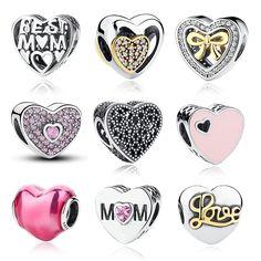 12 Styl Oryginalne 925 Sterling Silver Kształt Serca Miłość Koraliki Fit Pandora Charms Bransoletka Biżuteria walentynki Dzień matki PREZENT