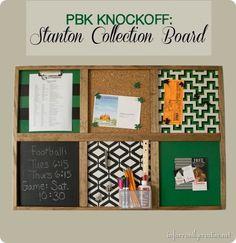 KIds command center bulletin board {Pottery Barn Kids inspired}