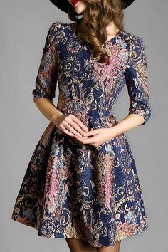 Vintage Pattern Half Sleeve Flare Dress