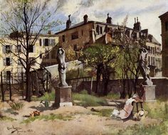 Larsson, Carl - Garden with Sculptures - Realism - Cityscape - Oil on canvas