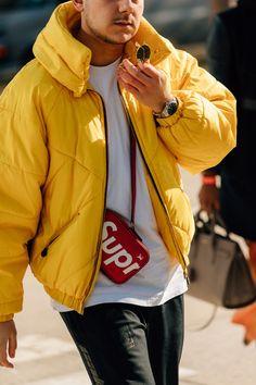 Street style men New York Fashion Week.