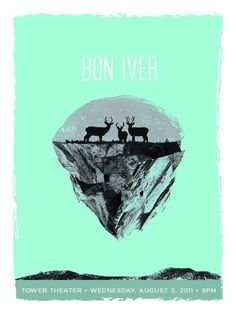 Bon Iver gig poster - tower theater 2011