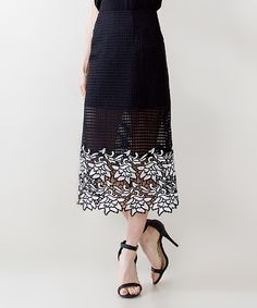 Look at this Black & White Floral Crochet Midi Skirt on #zulily today!