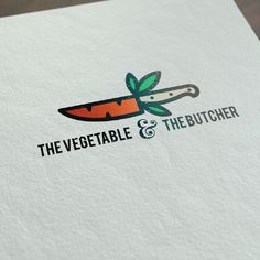 logo design for the vegetable and butcher. Concept was to show a blend of both words - a carrot shaped knife ( to represent veggies and butcher)