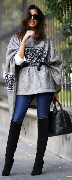 Grey And Black Aztec Print Poncho Shape Sweater & Black Over The Knee Boots…