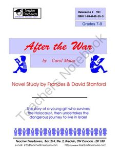 After the War  by Carol Matas from Teacher Timesavers on TeachersNotebook.com (59 pages)