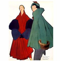 1948Christian Dior (l) and Jacques Fath (r) coats illustrated by Rene Gruau,